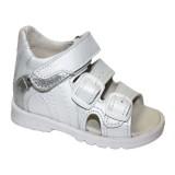 сандали Тотто (кожа) белый-серебро 0223
