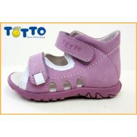 сандали Тотто (кожа) сирень-белый 0225