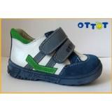 Полуботинки Тотто (кожа) синий-белый-зеленый 122 (кожподкладка)
