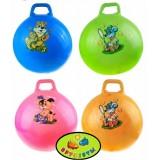 Мяч попрыгун массажный/гладкий, с рожками/ручкой d=45см, цвет МИКС
