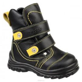 Ботинки Тотто (кожа) черный-желтый 215 (мех)