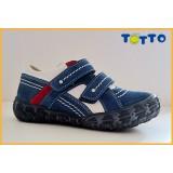 Полуботинки Тотто (кожа) синий-белый-красный 223 (кожподкладка)