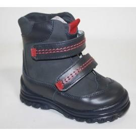 Ботинки Тотто (кожа) синий-красный 245 (мех)