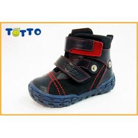 Ботинки Тотто (кожа) синий-красный 248