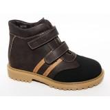 Ботинки Тотто (кожа) коричневый 1121 на байке