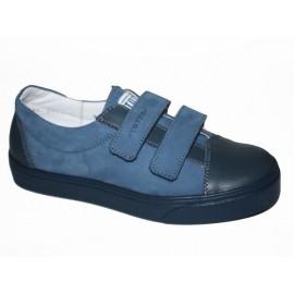 Полуботинки Тотто (кожа) голубой-джинс 2446