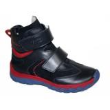 Ботинки Тотто (кожа) синий-красный 3542 на байке