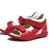 сандали Тотто (кожа) красный-белый 026