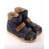 Детские ортопедические сандалии Тапибу (Tapiboo) 26012 ЛЕН (синий) выкладка свода