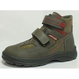 Ботинки Тотто (кожа) хаки-красные 211 на меху