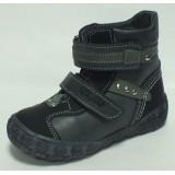 Ботинки Тотто (кожа) черно-серые 244 на байке
